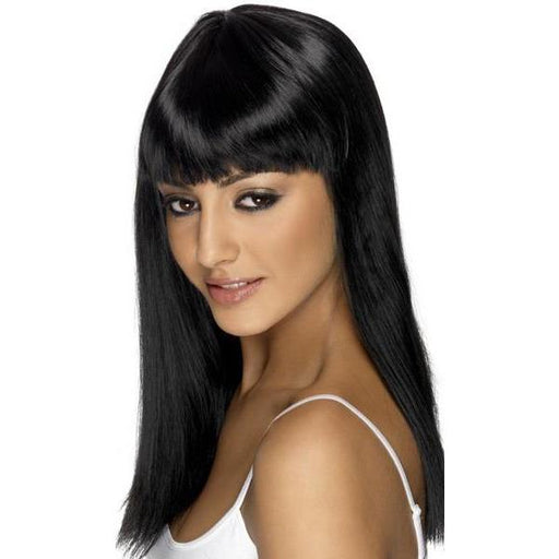Black Long Straight Wigs With Fringe