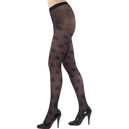 Black Opaque Tights With Stars