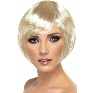 Blonde Short Female Babe Bob Wigs With Fringe