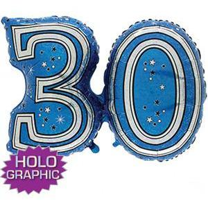 Blue 30 Jointed Number Shape Balloons