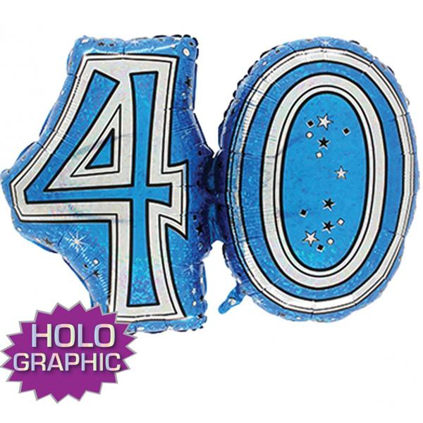 Blue 40 Jointed Number Shape Balloons
