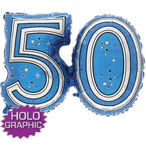 Blue 50 Jointed Number Shape Balloons