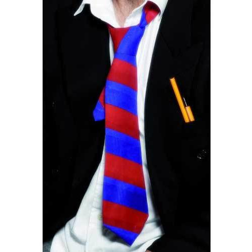 Blue and Red School Tie on Elastic