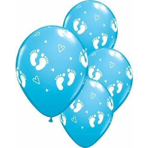 Blue Baby Footprints And Hearts Latex Balloons 6ct
