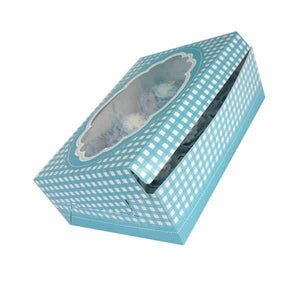 Blue Gingham Stitch Cupcake Boxes x2