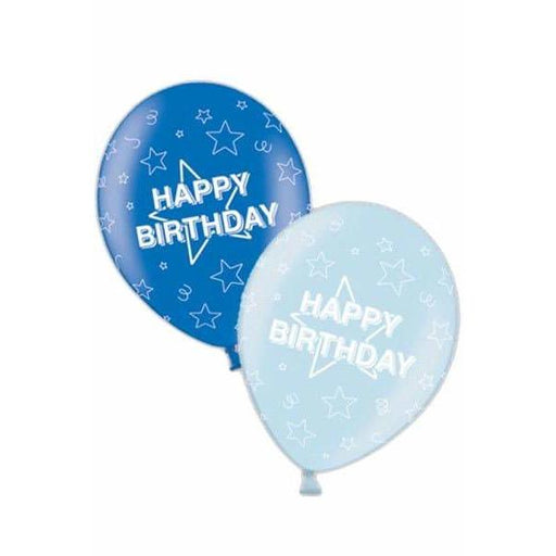 Blue Happy Birthday Latex Balloons x25