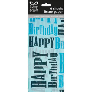 Blue Happy Birthday Tissue Paper x6 Sheets