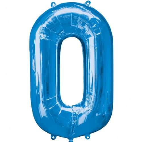 Blue Number 0 Foil Balloon