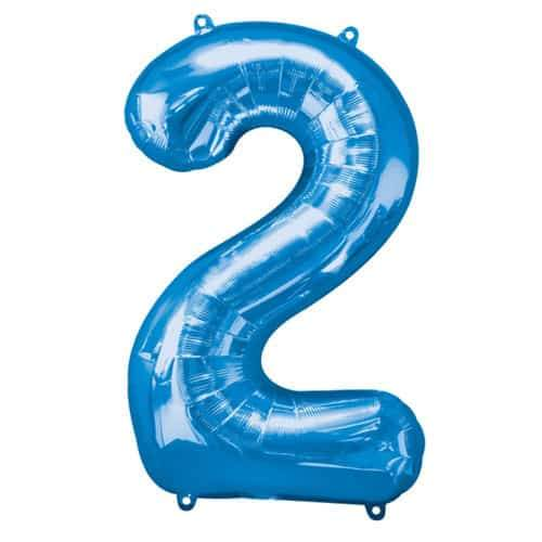 Blue Number 2 Foil Balloon
