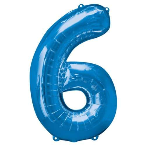 Blue Number 6 Foil Balloon