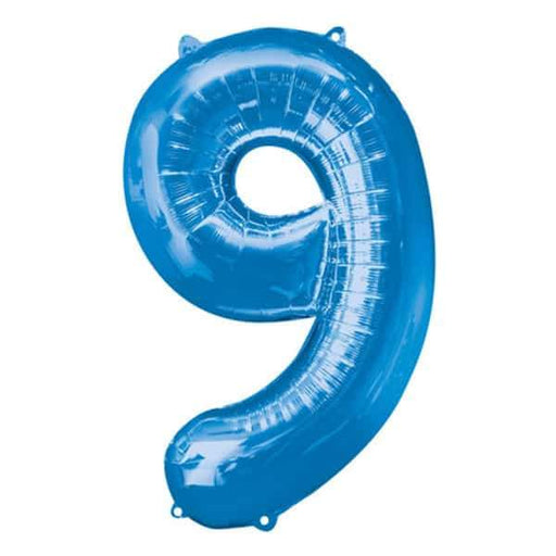 Blue Number 9 Foil Balloon