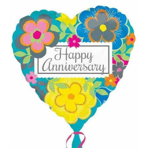Bright Floral Anniversary Foil Balloon