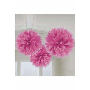 Bright Pink Fluffy Paper Decorations 3pk