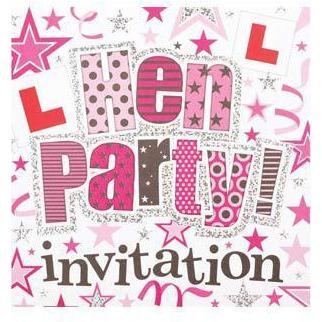 Bright Pink Hen Party Card Invitations
