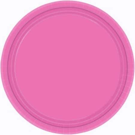 Bright Pink Paper Plates 24pk