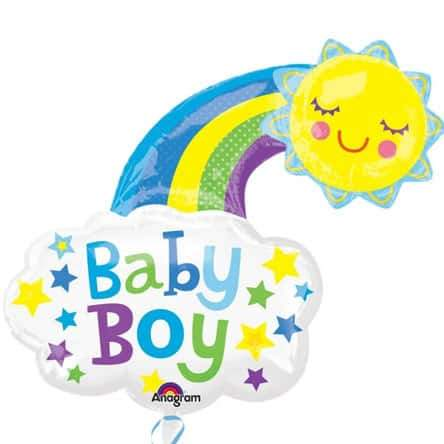 Bright Rainbow Baby Boy Supershape Balloons