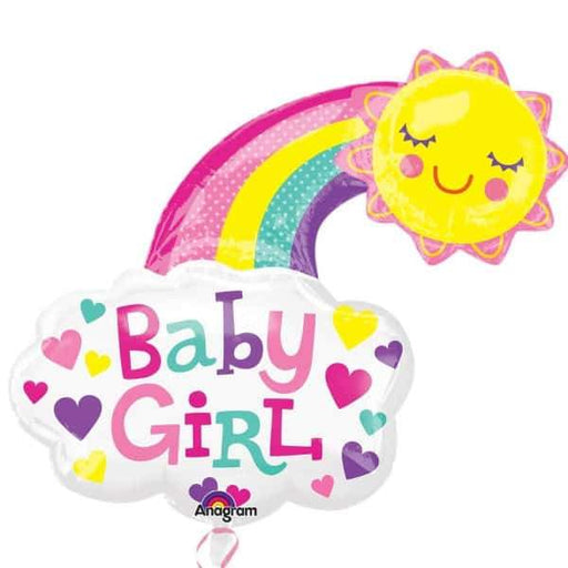 Bright Rainbow Baby Girl Supershape Balloons
