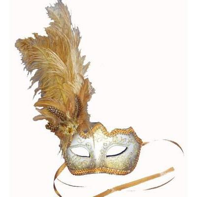 Bronze Glitter Mask with Feathers