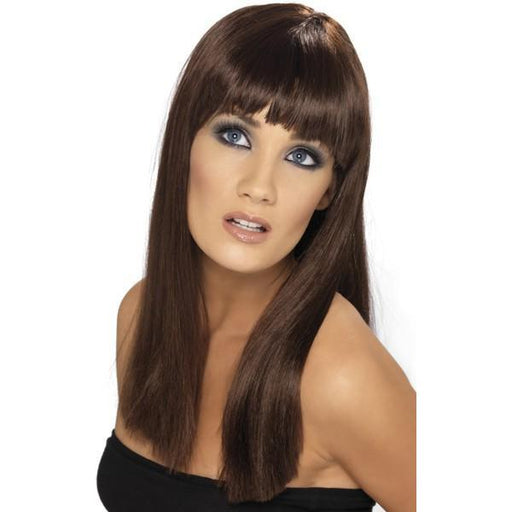 Brown Long Straight Wigs With Fringe