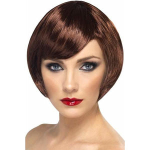 Brown Short Female Babe Bob Wigs With Fringe