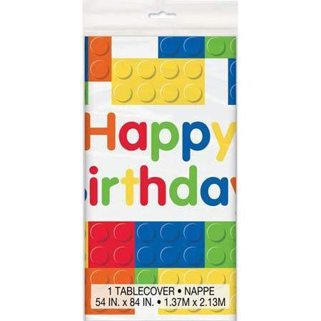 Building Blocks Happy Birthday Plastic Tablecover