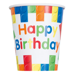 Building Blocks Happy Birthday Paper Cups