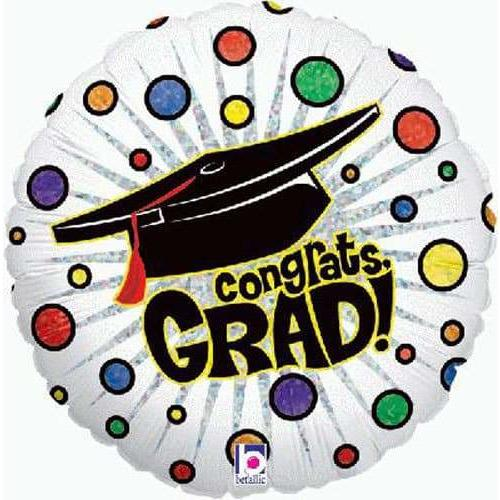 Bursting Dot Graduation Holographic Foil Balloon