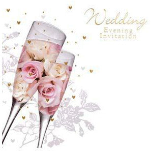 Glasses & Roses Wedding Evening Card Invitations