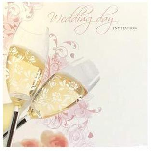 Champagne Glasses Wedding Day Card Invitations