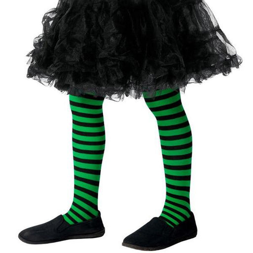 Child's Green And Black Wicked Witch Tights