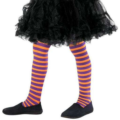 Child's Orange And Purple Wicked Witch Tights