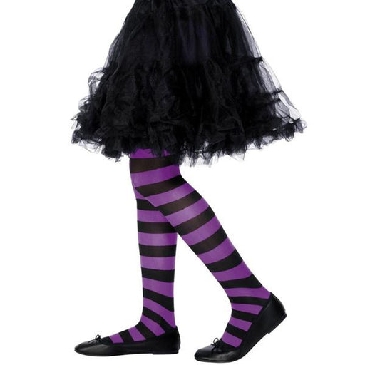 Child's Purple And Black Striped Tights