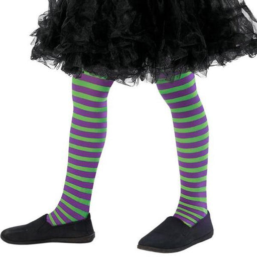 Child's Purple And Green Wicked Witch Tights