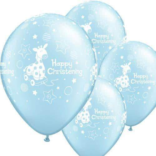 Christening Boy Soft Giraffe Latex Balloons 6ct