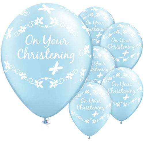 Christening Butterflies Pearl Light Blue Latex Balloons x25