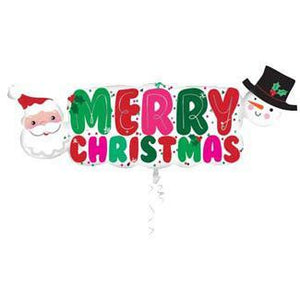 Merry Christmas Banner Supershape Balloon - mypartymonsterstore