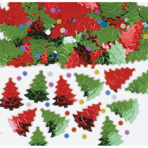 Red and Green Christmas Trees Confetti
