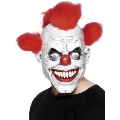 Clown Mask White and Red with Hair