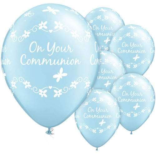 Communion Butterflies Pearl Light Blue Latex Balloons x25