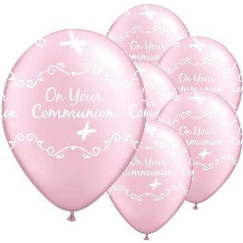 Communion Butterflies Pearl Pink Latex Balloons x25