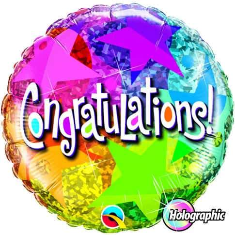 Congratulations Star Patterns Foil Balloon
