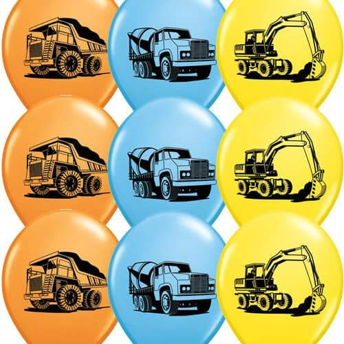Construction Trucks Assorted Latex Balloons x25