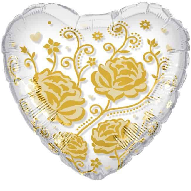 Crystal Gold Roses and Flowers Foil Balloon