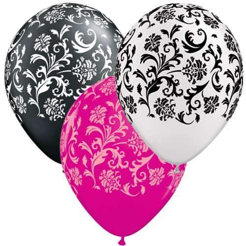 Damask Print Special Assorted Latex Balloons x50