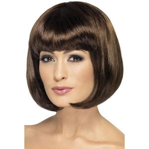 Dark Brown Partyrama Lady Wigs With Fringe