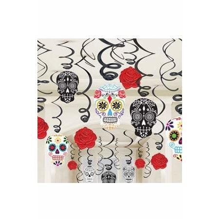 Day Of The Dead Swirl Party Decorations 30pk
