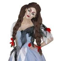 Ladies Adult Halloween Twisted Fairytale Deadly Dorothy Brown Wig Fancy Dress