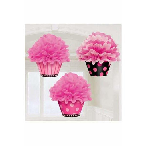 Deluxe Cupcake Fluffy Decorations 3pk