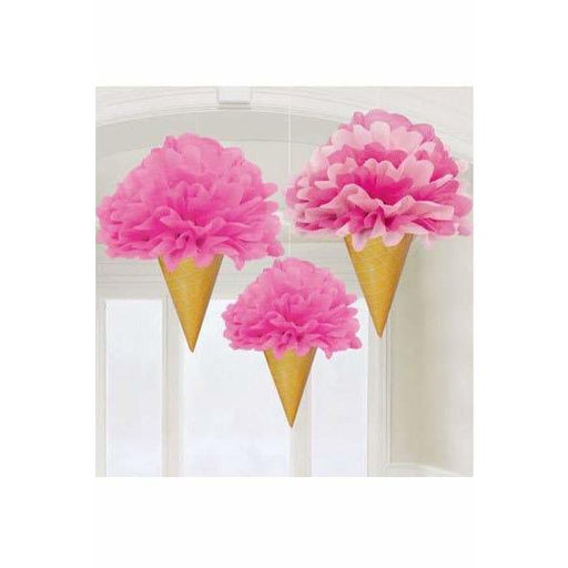 Deluxe Ice Cream Fluffy Decorations 3pk