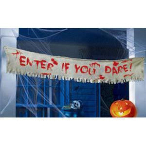 Enter If You Dare Burlap Cloth Banner